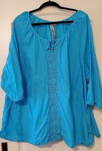 Catherines 4X 30/32 plus size crochet front blouse